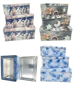 3tlg. Weinachts-Keksdosen Set mit Deckel, verschiedenen Größen, rechteckig, inei