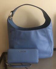 Michael Kors Large Hobo Shoulder Bag Purse Jet Set Travel Wristlet. French Blue