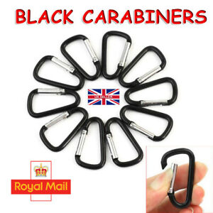 1 - 30 Carabiner Small Spring Clip Snap D Clasp Hook Black Carabina Karabiner UK