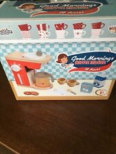 Good Mornings Coffee Maker Kids Cooking Kitchen Learning Wooden Toys Set NIP