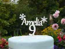 Personalised Name Birthday Cake Topper Decoration With Frozen Snowflakes and Age