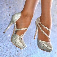 Ladies Diamante High Heel Platform Sandals Court Shoe Evening Party Wedding size