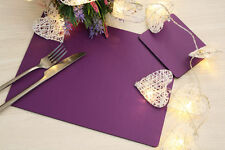 Set of 4 Elementary Purple Leatherboard Placemats and 4 Coasters - Made in UK
