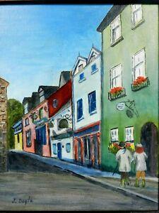 "M. JANE DOYLE SIGNED ORIG.ART OIL/CANV PAINTING""KINSALE, IRELAND""(STREET ART) FR"