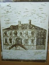 MID CENTURY 1960's ARTIST SIGNED OLD STATE DEPARTMENT BUILDING PRINT WOOD BLOCK?