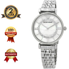 EMPORIO ARMANI AR1908 Women's SILVER & PEARL Stainless Steel Watch **100% NEW**