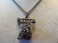 Gunmetal/Rhinestone CHUNKY AntiqueStyle ROTARY TELEPHONE Pendant Necklace 14N316