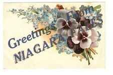 DB Postcard,Greetings From Niagara Falls,Pansy,PansiesGlitter
