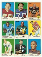1969 Topps Football you pick commons 3 picks for $3.00 stars avalible EX cond.