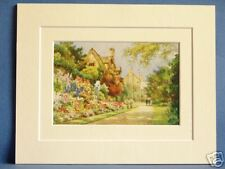 WORCESTER COLLEGE GARDENS AND COTTAGES OXFORD RARE VINTAGE DOUBLE MOUNTED PRINT