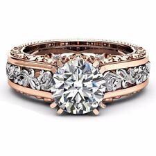 Women Silver White Topaz 18k Rose Gold Wedding Party Ring Size 8