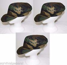 (3) NEW Italian Military Field BDU Hat Cap Geen Woodland Camo Men's Medium-Large