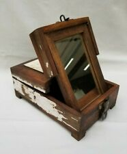Vintage Shaving Box Wooden Wood W/ Folding Mirror - Primitive Rustic Distressed