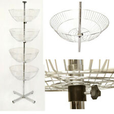 63 inch High 4 Basket Display Wire Floor Tier Spinner Rack Dump Bin Retail Store