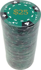 Poker Chips (25) $25 Tri-Gold 14 g Clay Composite FREE SHIPPING *