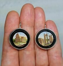 Antique Italian Roman Ruin Micro Mosaics with New Sterling Silver Setting