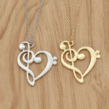 Lovely Music Symbol Necklace Alloy Hollow Out Pendant Women Jewelry Accessory