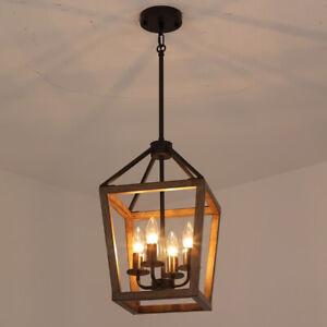 Loft Industrial Wooden Square Cage 4 Candle Lights Black Metal Pendant Lights