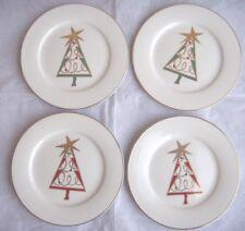 Pier 1 Christmas Tree Set of 4 Holiday Dessert Plates Gold Rim / New