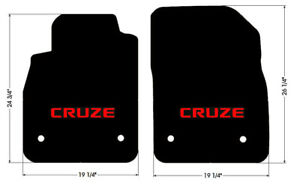 NEW! BLACK FLOOR MATS 2010-2014 Chevy Cruze with Red Embroidered Logo Front Pair