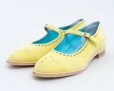 New Thierry Rabotin Suede Brogue Mary Jane Chartreuse Green Shoes Women's US 9