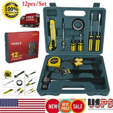 12pcs Home Hand Tool Set Kit Household Mechanics with Adjustable Wrench & Hammer
