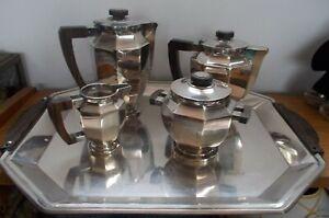 christofle gallia service café metal argenté art déco 5 pièces