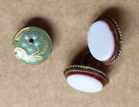 3 tiny buttons, studs or cufflinks, inc 1 pair, small one is 9mm.
