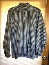ERMENEGILDO ZEGNA  Navy Blue Striped Long Sleeve Button Up Dress  Shirt Size Lg