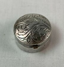 Small Engraved Sterling Silver Pill Box