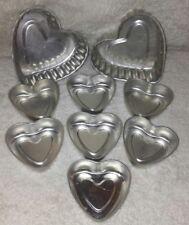 "💗9 Fancy Heart Shaped Aluminum Jello Molds Pans Baking Tart 5.5"" 3.5"" Metal Lot"