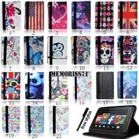 "FOLIO LEATHER STAND CASE COVER For Amazon Kindle Fire 7"" /HD 8""/ HD 10"" + Stylus"