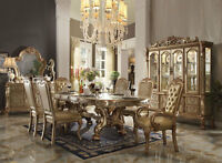 Traditional Gold Ivory 7 pieces Dining Room Rectangular Table & Chairs Set IACH