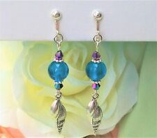 Shell Teal Silver Foil & Crystal Bead CLIP ON Dangle Earrings 2.8""
