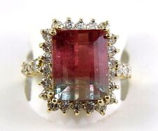Fine Emerald Cut Pink and Green Tourmaline & Diamond Ring 14k Yellow Gold 9.13Ct