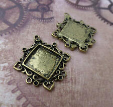 Pack of 4 Antique gold Cabochon settings Resin Solid Square  base setting blanks
