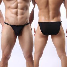 Thongs Briefs Silk Underwear Pouch Rise See-through Y-front Lingerie Jockstrap