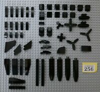 50+pcs LEGO BLACK PROPELLERS, BLADES, TAIL FINS, SLOPES & WEDGES #Y256-9
