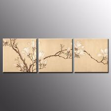 FRAMED CANVAS PRINTS Magnolia Paintings Wall Art For Home Room Decor 3pcs
