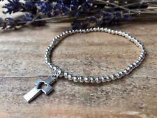 Loving Heart Cross Silver Plated Ball Beads Stretchy Stacking Bracelet (NEW)
