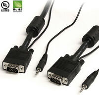 Premium 6FT 10FT 15FT 25FT 30FT VGA Monitor Cable with 3.5mm Stereo Audio