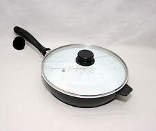 Nea 28cm SAUTE PAN Induction Gas Electric Hob Non Stick Glass Lid Deep Fry B-W