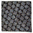 "New SANTOSTEFANO Black Blue Taupe 12"" Silk Pocket Square Handkerchief NWT 150"