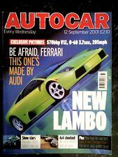 AUTOCAR MAGAZINE 12-SEP-01- Alpina B3 3.3 E46, Murcielago, Ford Maverick, BMW X5