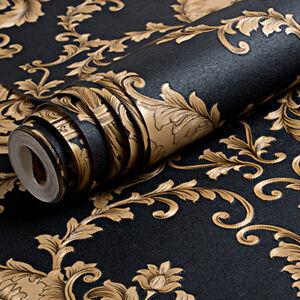 Gold Black Damask Wallpaper Luxury Metallic Texture Embossed