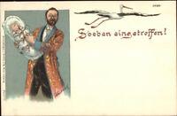 German Birth Stork Man w/ Baby SOEBEN EINGETROFFEN c1900 Postcard FINE LITHO