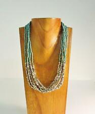 """Handmade Multi-Strand Faux Silver & Seed Bead Roxie 20"""" Short Necklace"""