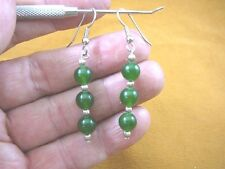 (ee404-42) 8 mm Green Jade Canada gemstone 3 bead + silver beads dangle earrings