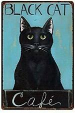 Tin Sign Black Cat Funny Wall Art Gift Metal Sign 8x12 Inch