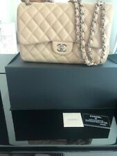 Authentic Chanel Jumbo Flap Shoulder Chain Bag Lambskin Beige